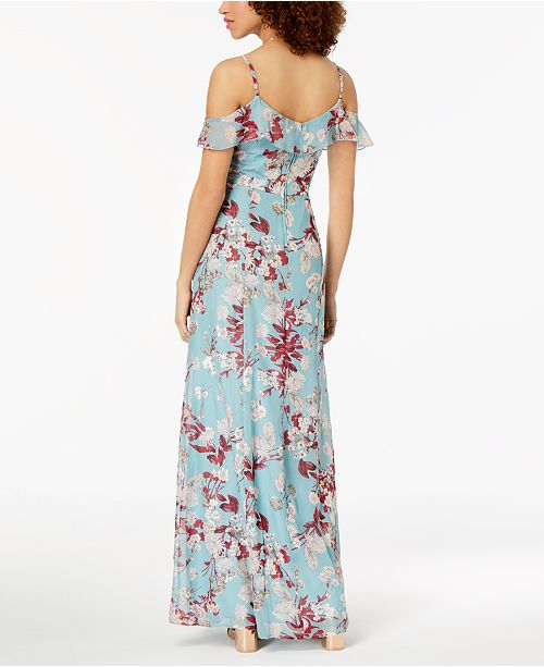 Maxi Juniors' Sundae Ivory Floral Dress Shoulder Cold Emerald Turquoise XBRwgqw