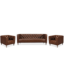 "Tosi 3-Pc. 84"" Leather Sofa & 2 34"" Leather Chairs Set"