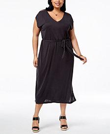 Lucky Brand Trendy Plus Size Cotton Button-Sleeve Midi Dress