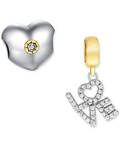 65509c9233e1f Two-Tone 2-Pc. Set Cubic Zirconia Heart & Love Charms in Sterling Silver