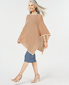 Charter Club Pure Cashmere Contrast-Trim Poncho, Created for Macy's