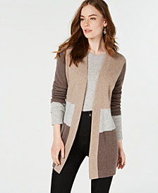Charter Club Pure Cashmere Colorblocked Cardigan, Created for Macy's