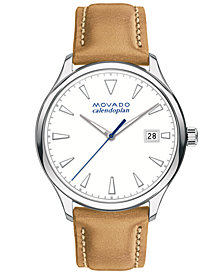 Movado Women's Swiss Heritage Series Calendoplan Light Brown Leather Strap Watch 36mm