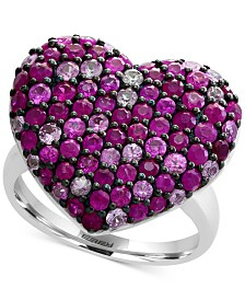 EFFY® Ruby (1-1/2 ct. t.w.) & Pink Sapphire (1 ct. t.w.) Heart Ring in Sterling Silver