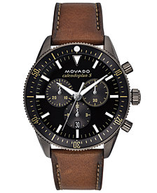 Movado Men's Swiss Chronograph Heritage Series Calendoplan Cognac Leather Strap Watch 42mm