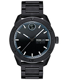 Movado Men's Swiss BOLD Black Stainless Steel Bracelet Watch 43.5mm, Created for Macy's