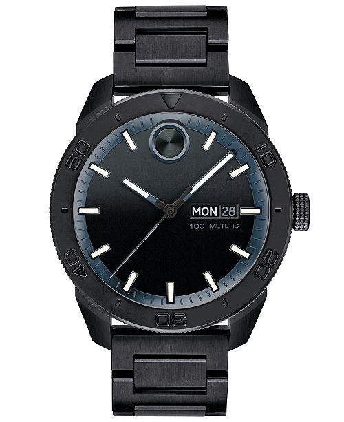 Movado Men's Swiss BOLD Black Stainless Steel Bracelet Watch 43.5mm, Created for Macy's