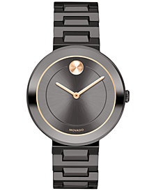 Movado Women's Swiss BOLD Gunmetal Stainless Steel Bracelet Watch 34mm