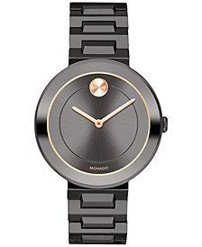 Movado Women's Swiss BOLD Gunmetal Stainless Steel Bracelet Watch 34mm