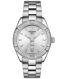 Women's Swiss PR 100 Sport Chic T-Classic Gray Stainless Steel Bracelet Watch 36mm
