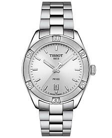 Tissot Women's Swiss PR 100 Sport Chic T-Classic Gray Stainless Steel Bracelet Watch 36mm
