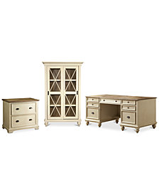 Brompton II Home Office, 3-Pc. Furniture Set (Executive Desk, File Cabinet & Sliding Door Bookcase)
