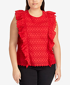 Lauren Ralph Lauren Plus Size Ruffled Cotton Top
