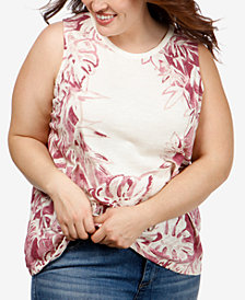 Lucky Brand Trendy Plus Size Cotton Printed Tank Top