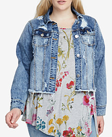 RACHEL Rachel Roy Trendy Plus Size Distressed Denim Jacket