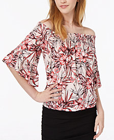 Polly & Esther Juniors' Smocked Printed Off-The-Shoulder Top
