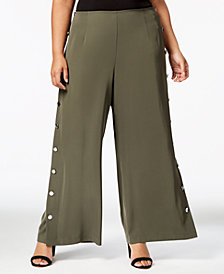 Love Scarlett Plus Size Buttoned Wide-Leg Pants