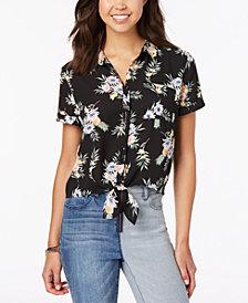 Hippie Rose Juniors' Printed Tie-Front Camp Shirt