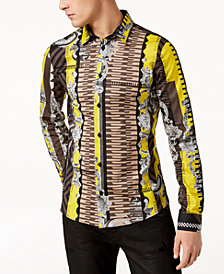 Versace Men's Striped Logo-Print Shirt