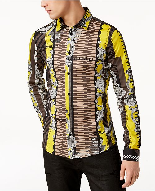 00df1176127 Versace Men s Striped Logo-Print Shirt  Versace Men s Striped Logo-Print ...