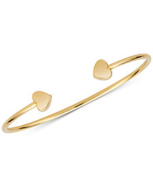 Sarah Chloe Polished Heart Cuff Bangle Bracelet