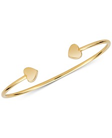 Sarah Chloe Polished Heart Cuff Bangle Bracelet
