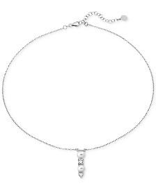"Majorica Sterling Silver Cubic Zirconia & Imitation Pearl Pendant Necklace, 15"" + 2"" extender"