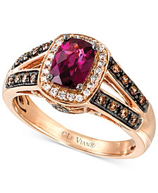 Le Vian® Raspberry Rhodolite™ (7/8 ct. t.w.) & Diamond (1/3 ct. t.w.) Ring in 14k Rose Gold
