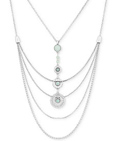 Lucky Brand Silver-Tone Stone Multi-Layer Pendant Necklace