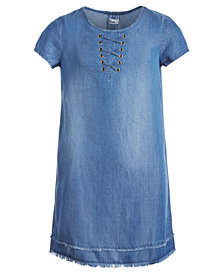 Epic Threads Big Girls Lace-Up Denim Dress, Created for Macy's