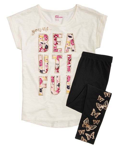 Epic Threads Big Girls Graphic-Print T-Shirt & Butterfly-Print Leggings, Created for Macy's