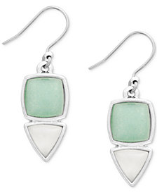 Lucky Brand Silver-Tone Stone Drop Earrings