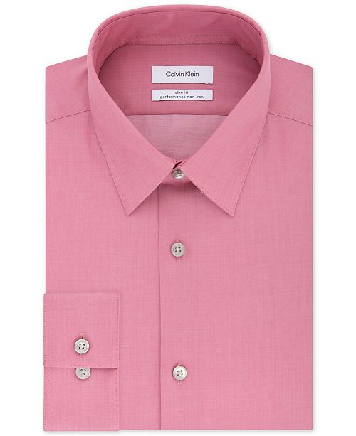 Calvin Klein Men's Slim Fit Non Iron Performance Herringbone Point Collar Dress Shirt