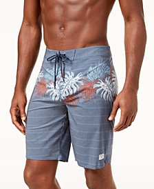 O'Neill Men's Waterfront Classic-Fit Hyperfreak Stretch Stripe Palm-Print 10'' Swim Trunks