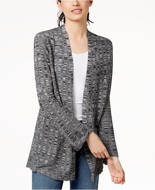 Black Open Front Blend Fisher Cardigan Silk Eileen qZ1B00