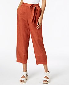 Eileen Fisher Tencel® Linen Tie-Waist Ankle Pants