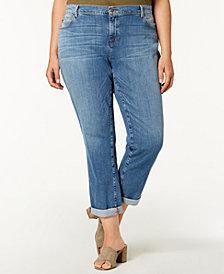 Eileen Fisher Plus Size Organic Cuffed Boyfriend Jeans
