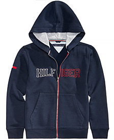 Tommy Hilfiger Big Boys Logo-Print Zip-Up Hoodie