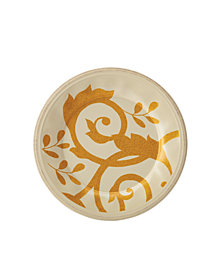 Rachael Ray Gold Scroll Almond Cream Salad Plate