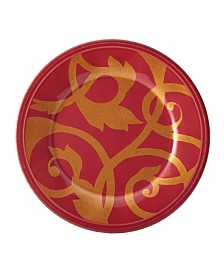 Rachael Ray Gold Scroll Cranberry Red Salad Plate