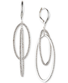 Lauren Ralph Lauren Silver-Tone Pavé Double Hoop Orbital Drop Earrings