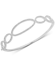 Lauren Ralph Lauren Silver-Tone Pavé Link Bangle Bracelet