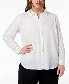 Eileen Fisher Plus Size Classic Collared Button-Up Shirt