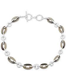 """Lauren Ralph Lauren Silver-Tone & Horn Link 17"""" Collar Necklace"""