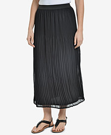 NY Collection Pleated Midi Skirt