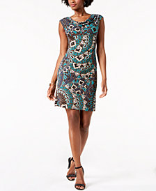 Connected Petite Printed Draped Dress