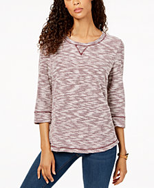 Karen Scott Petite Marled Sweatshirt, Created for Macy's
