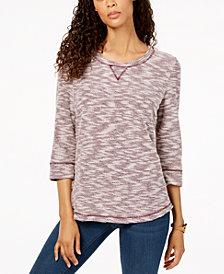 Karen Scott Petite Marled Sweatshirt, Created for Macy's