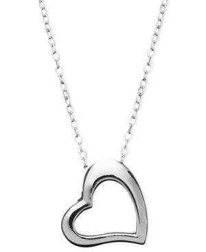 GIANI BERNINI   Giani Bernini Sterling Silver Necklace, Small Open Cut Heart Pendant   Goxip