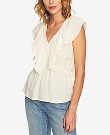 1.STATE V-Neck Ruffled Gauzy Top